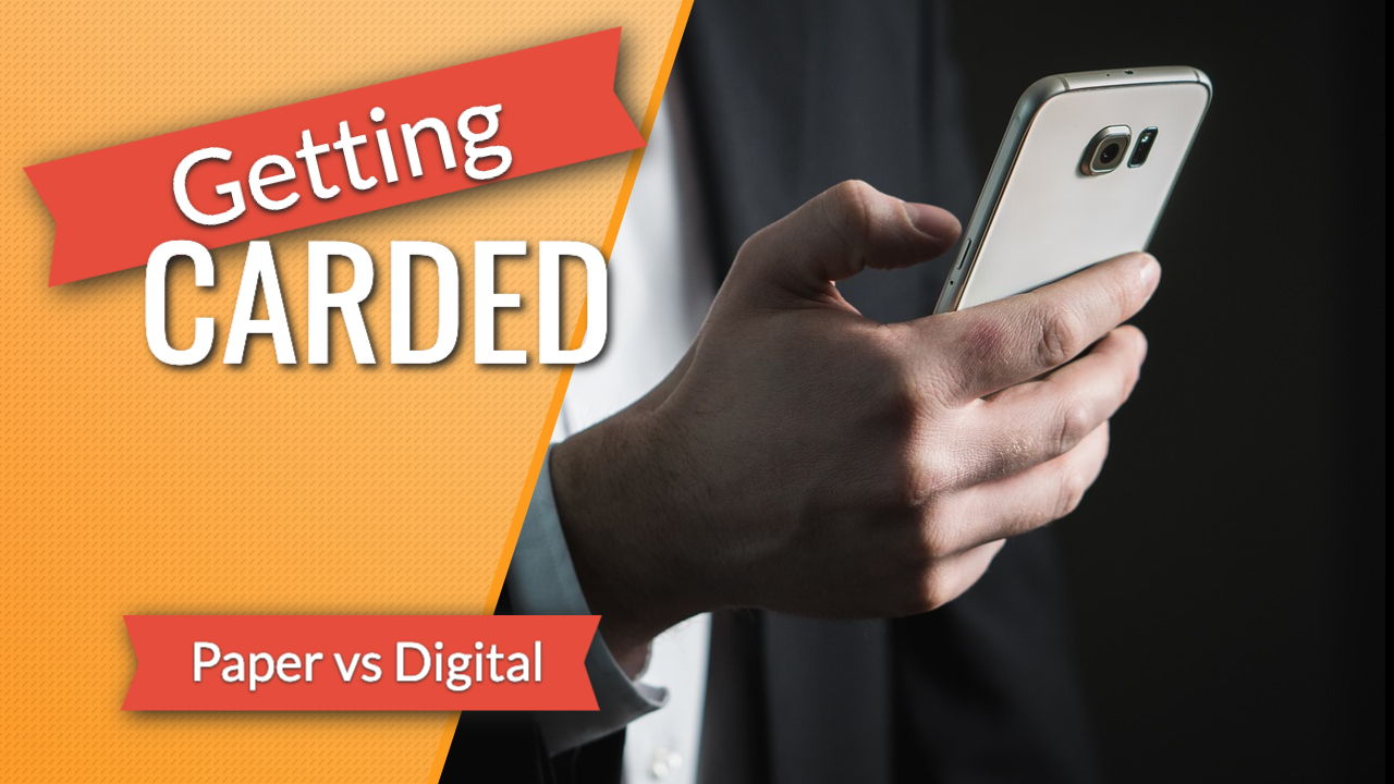 Getting Carded - Print vs Digital graphic, with a photo showing a man using a cell phone